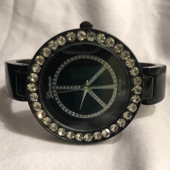 Geneva Platinum Jewelry - Geneva Platinum Peace Sign Watch